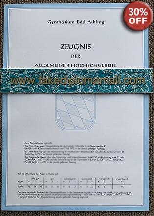 Gymnasium Bad Aibling Zeugnis der Allgemeinen Hochschulreife, German Fake Diploma