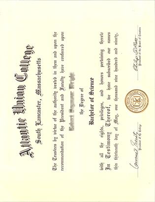 Atlantic Union College Fake Degree Certificate