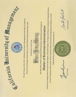 California University of Management MBA Degree Sample