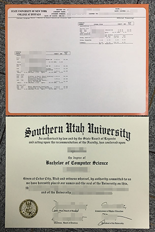 Sample of Southern Utah University Fake Degree With Transcripts