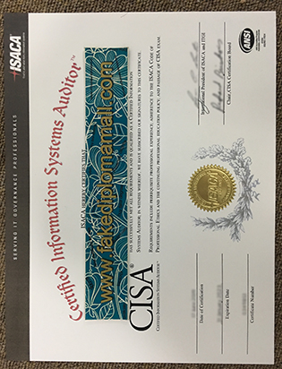 Certified Information Systems Audito (CISA) Fake Certificate Sample We Have