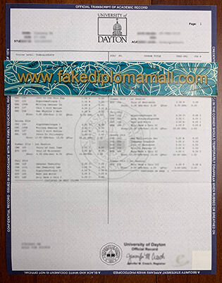 Would Like To Get the Sample of  University of Dayton Transcript
