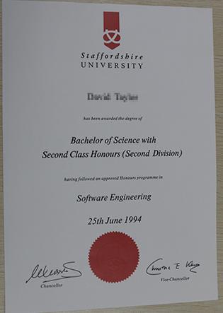 Staffordshire University Fake Degree Sample, UK Degree Certificates