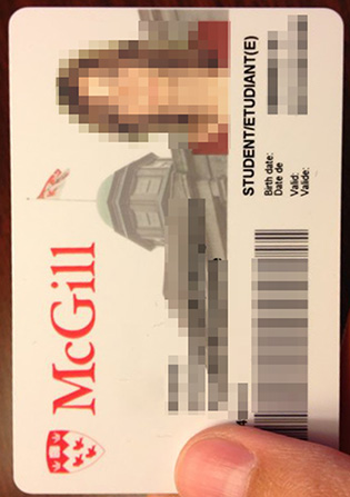 McGill University Student Card Sample, Canadian Student Card