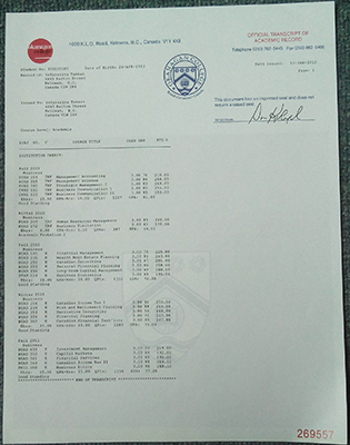 Okanagan College Fake Transcript in Canada