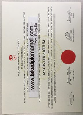 Sample of McGill University Fake Degree Certificate