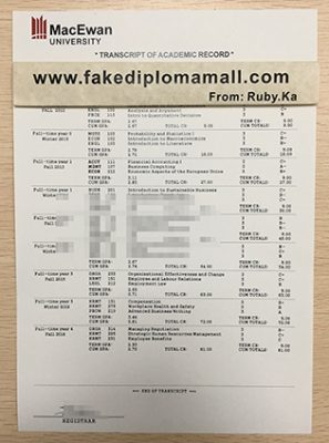 Order Grant MacEwan University Fake Transcript in Canada