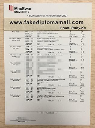 Order Grant MacEwan University Fake Transcript in Canada
