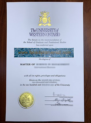 The Latest Version of Western University Fake Diploma Printed in 2019