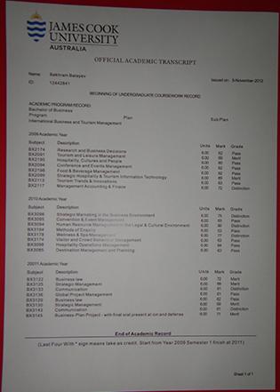 JCU Fake Transcript, James Cook University Transcript Sample