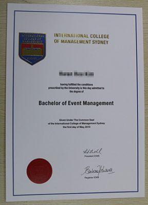 Fake ICMS Diploma | International College of Management,Sydney Degree Cert
