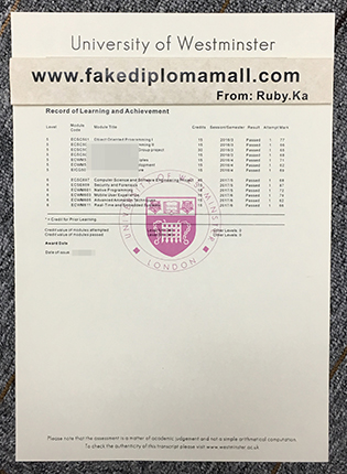 How to Order University of Westminster Fake Transcript?