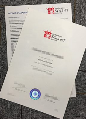 Buy Southampton Solent University Fake Diploma with Transcript