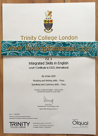 Trinity College London ESOL Fake Diploma, Buy Fake Certificate