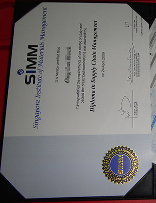 SIMM Diploma sample, Singapore Institute of Materials Management Degree