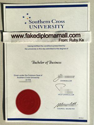 Fake Southern Cross University Degree Certificate Sample