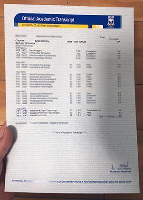 University of Southern Queensland Fake Transcript Sample, USQ Transcript