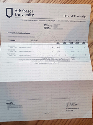 Buy Fake Athabasca University Transcript in Canada