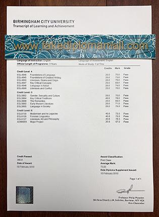 How to Create A Fake Birmingham City University Transcript?