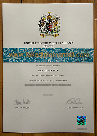 University of the West of England Fake Degree Sample