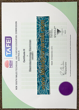 New South Wales TAFE Certificate Sample