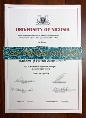 University of Nicosia BSc Fake Degree Sample