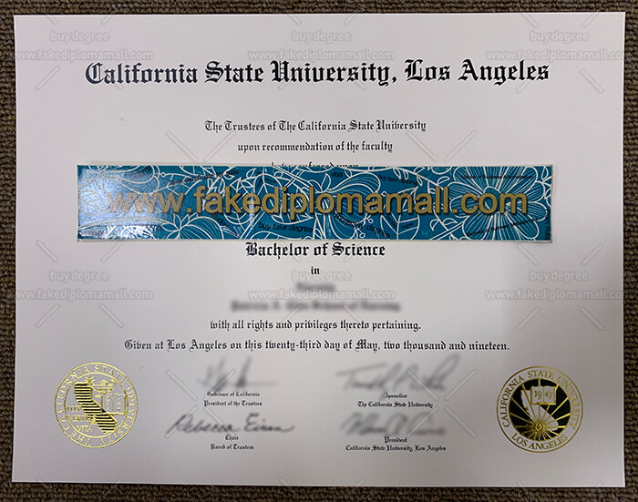 California State University Los Angeles degree certificate