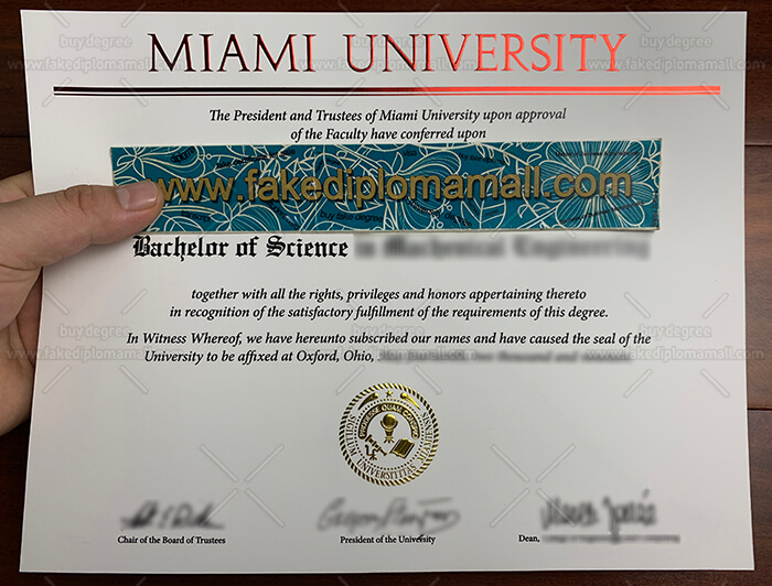 Miami University Degree Certificate