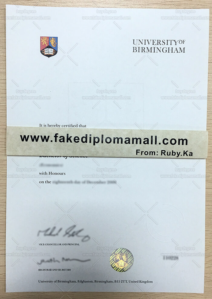 University of Birmingham degree certificate