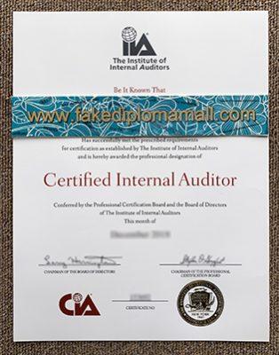 Fake CIA Certificate, Certified Internal Auditor Diploma Sample