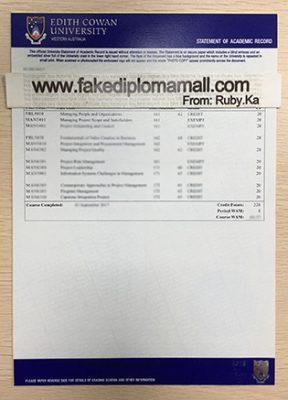 ECU Fake Transcript, Edith Cowan University Ttranscript Sample