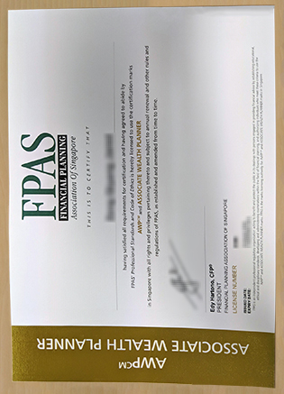 Fake FPAS Certificate, Financial Planning Association of Singapore Certificate