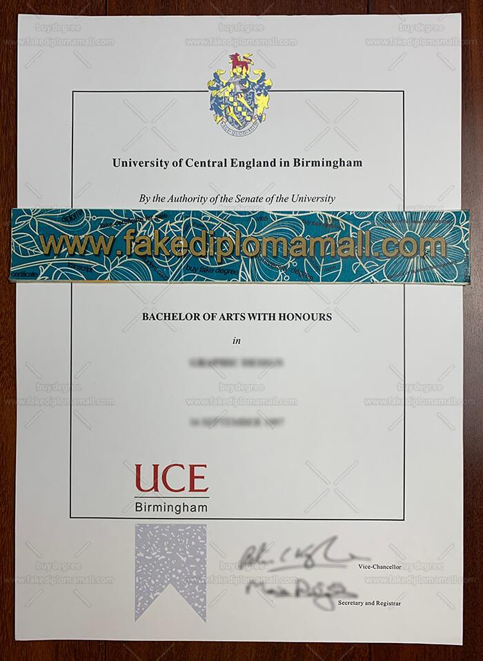 Fake UCE Birmingham Diploma