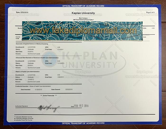 Kaplan University Fake Transcript