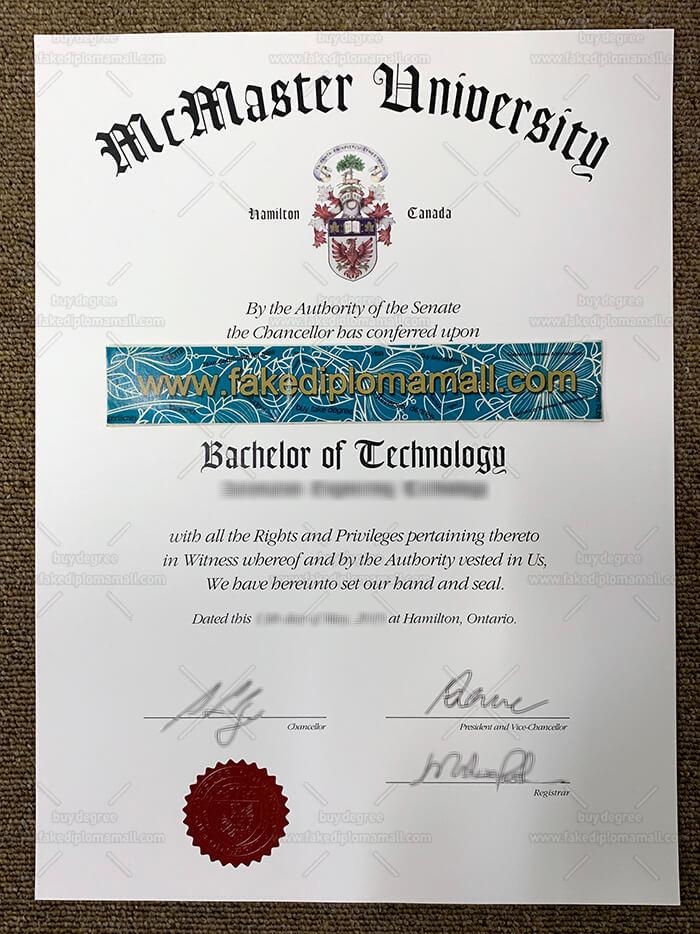 McMaster University Diploma Sample