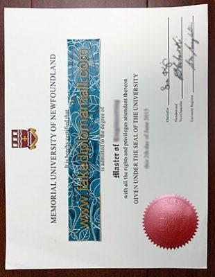 Memorial University of Newfoundland Fake Diploma Sample in Canada