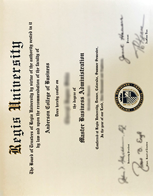 Regis University Fake Diploma, Anderson College of Business MBA Degree Certificate