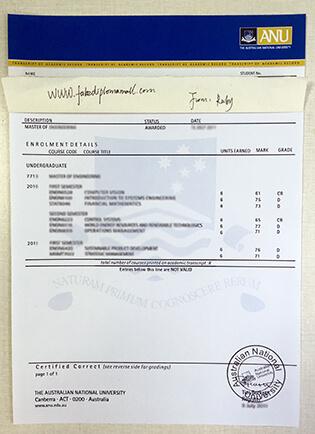 ANU Fake Transcript, Australian National University Transcript Sample