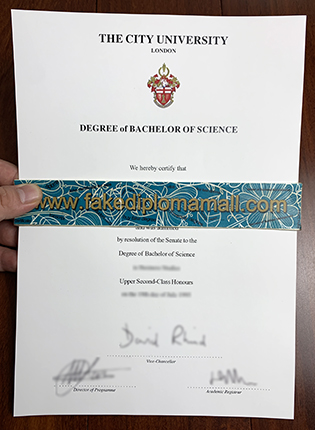 Old Version of The City University London Fake Degree Certificate