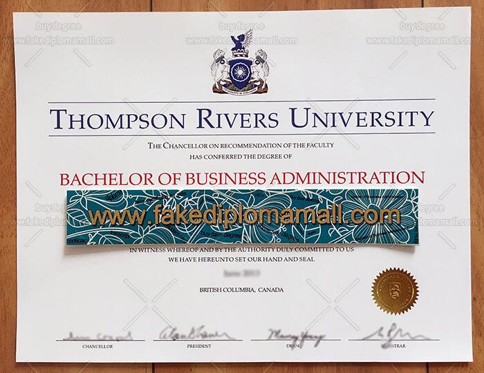 Thompson Rivers University Diploma Sample