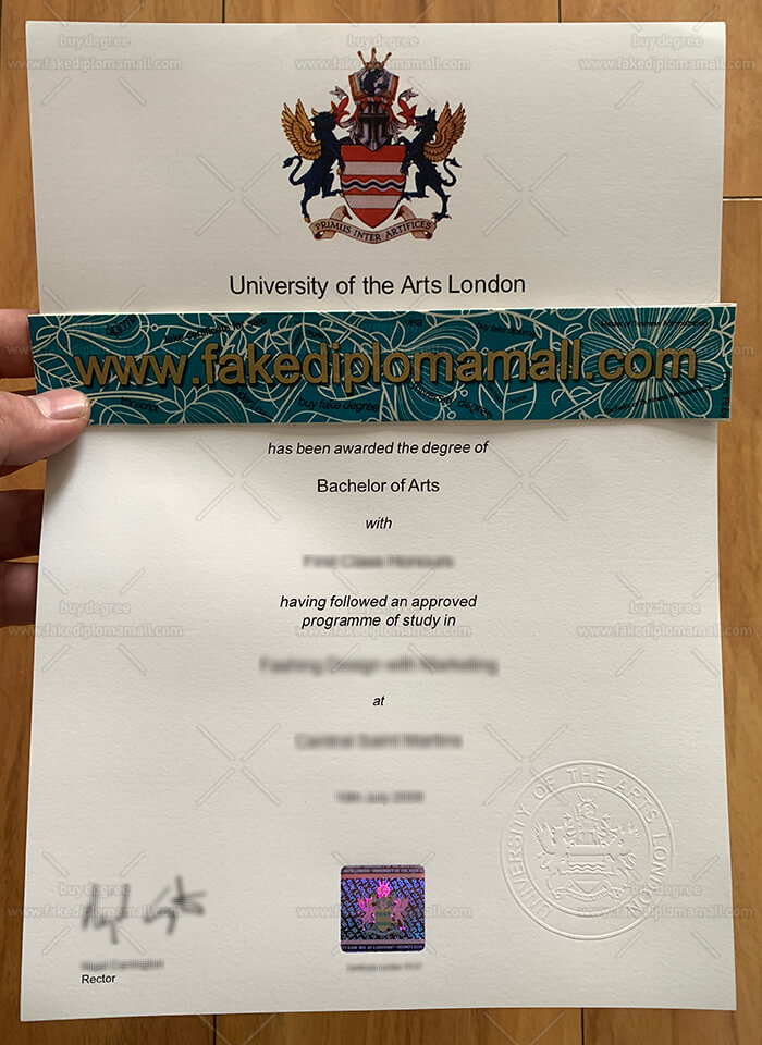 UAL Fake Degree Certificate
