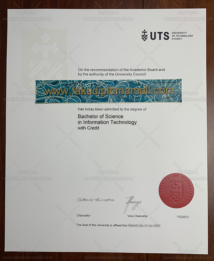 University of Technology Sydney Degree Certificate