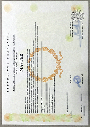Fake Université de Picardie Jules Verne Diploma