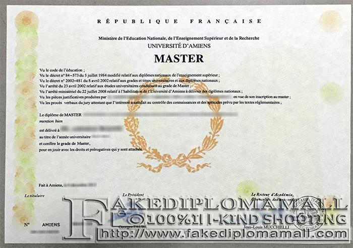 Université de Picardie Jules Verne Fake Diploma