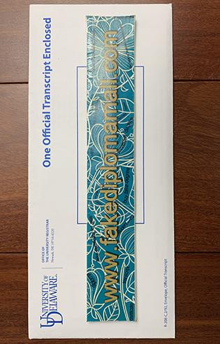 Order The University of Delaware (UDel) Official Envelope, Buy UDel Diploma