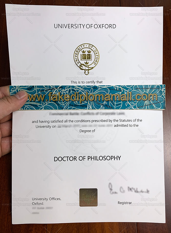 University of Oxford Diploma Sample