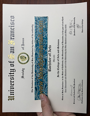 Fake University of San Francisco Diploma, USF Fake Degree Sample