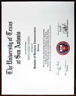 The University of Texas at San Antonio Degree, Fake UTSA Diploma Sample