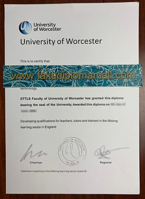 University of Worcester Diploma Certification Letter