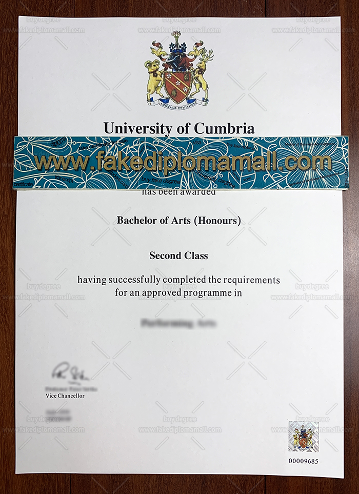 University of Cumbria Degree Certificate